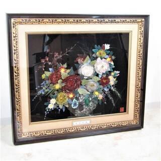 N1471・天然石 宝石画 貴石画 薔薇 宝石の花 額サイズ 9...