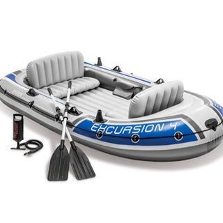 【美品】ゴムボートセット 4人乗り Intex excursion4