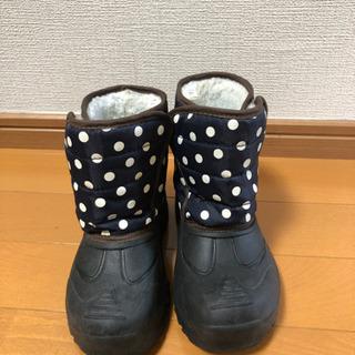 17cm 黒、紺色 水玉ブーツ