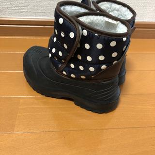 17cm 黒、紺色 水玉ブーツ - 高知市