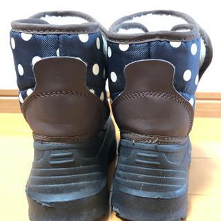 17cm 黒、紺色 水玉ブーツ - 子供用品