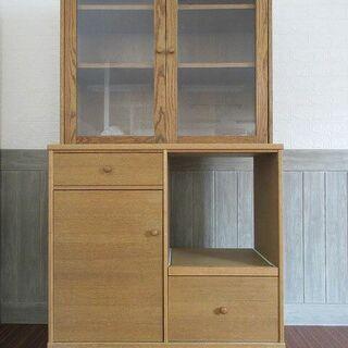 ss0056 モモナチュラル 食器棚 木製 ガラス扉 MO…
