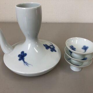 徳利と三本のおちょこセット 陶器 酒器 骨董品