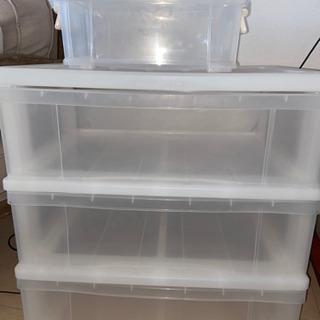 透明三段キャビネット・透明収納ボックスセット