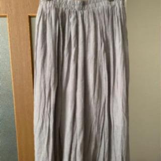 大きいサイズロングスカート グレー