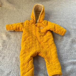 クマ フリース 黄色カバーオール ベビー 80㎝ 冬服 防寒具