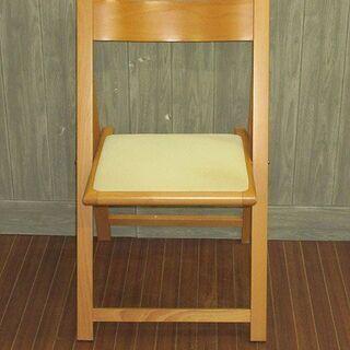 【ネット決済・配送可】stp-0423 折り畳みイス 木製 ホワ...