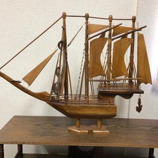 帆船 置き物 木製 インドネシアで買いました。