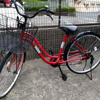 【近隣配達無料】26インチ自転車 赤黒 6段ギア