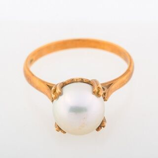 【ネット決済・配送可】K18 アコヤ真珠 リング 品番9-165