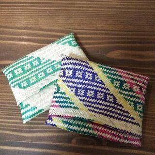 メキシコ カラフル編み小物入れ