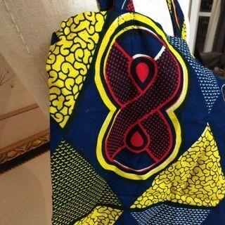 セネガル アフリカンプリント 一点物手縫いバッグ