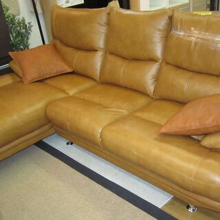 R052 万代家具 高級感 本革カウチソファ 3人掛け 美品