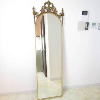 N1562・ アンティーク ミラー 姿見 鏡 壁掛け ウォールミ...