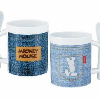 ミッキーマウス デニム風スプーンマグカップ