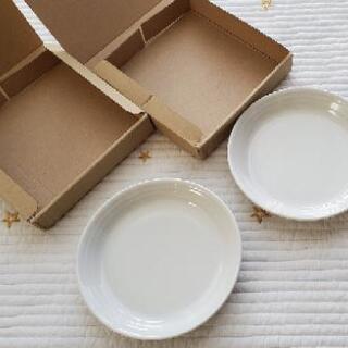 【箱付】白い丸皿 2枚組