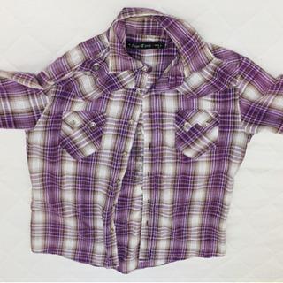 値下げしました✨アウターにもイケるオシャレな紫チェックシャツ(中古)