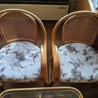 籐 家具 テーブル椅子セット - 家具