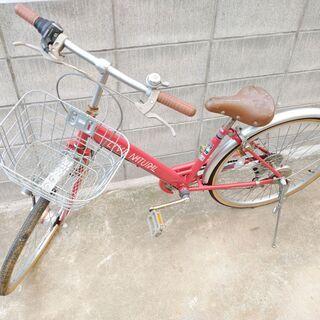 赤色 子供自転車 ギア付き 前かご 鍵付き サイズ 24 引き取...