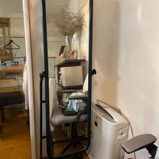 【ネット決済】キャスター付き鏡、ネイビー、156×40×40