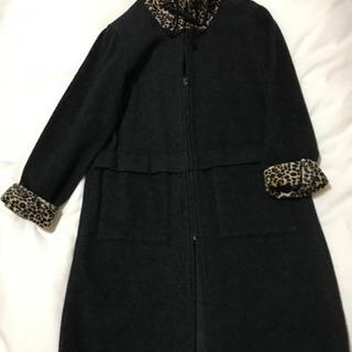 黒 ダークグレー 豹柄 2way コート