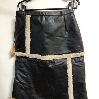 革製スカート 黒