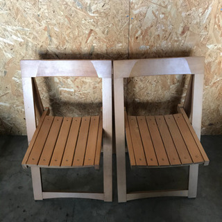 【商談中】折り畳みイス二脚 木製いす