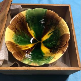 三彩梅 菓子鉢 未使用
