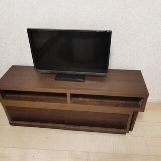 スライド式 テレビ台 引き出し付き テレビボード ブラウン