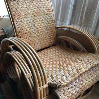レトロ 80年ほど前の籐製リクライニングチェアー