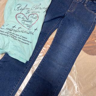 130 ロンT ズボンセット 女の子 リボン
