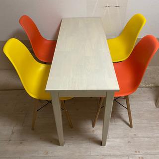 【ネット決済】木製テーブルとカラー椅子4脚セット