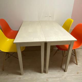 【ネット決済】木製テーブル2台+カラーチェア4脚セット