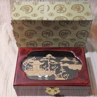 中国製 ジュエリーケース 木製 立体切り絵 薔薇 中国工芸 宝石...