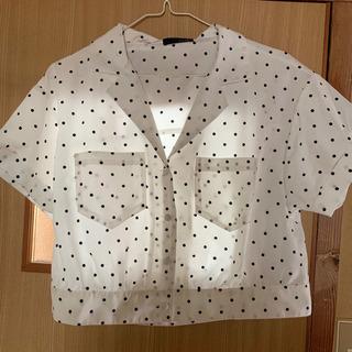 ブラウス ドット ホワイト ブラック シャツ