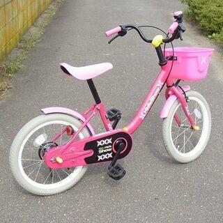 自転車 補助輪付き 子供用 16インチ ピンク/赤
