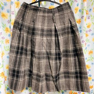 膝丈 チェックロングスカート