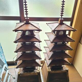 「五十塔(対)」黒竹細工、飾り、インテリア