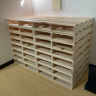 【ネット決済】パレットベッド 木製 国産檜 16枚 正方形 小さ...