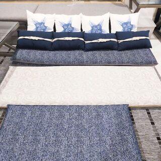 極厚フロアマット3枚-紺色クッション4個 洗濯可 保護ビニール付