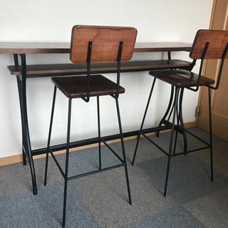 カウンターテーブル カウンターチェアー 椅子 木目 ブラック