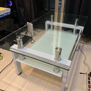 【美品】ガラステーブル(ホワイト)