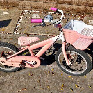 自転車 16インチ 中古 ピンク 女の子 子供 幼児 補助輪つき...