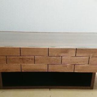 日本製 大川家具 リビングテーブル 木製 ガラス板