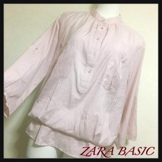 [ZARA BASIC]桜ピンク スタンドカラー ペプラムブラウ...