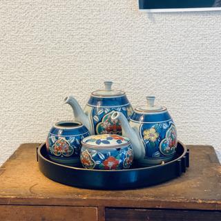 美しいお品物◇有田焼 陶器 煎茶セット 茶道具 急須 染 未使用...