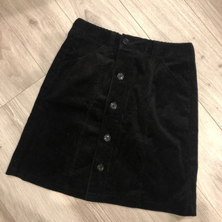台形スカート コーデュロイスカート ブラック 膝丈 スカート