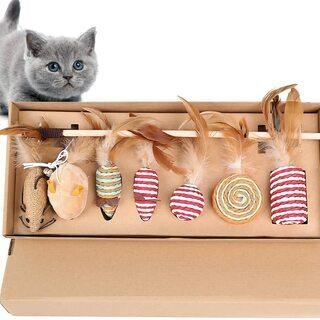 猫 おもちゃ 猫じゃらし 羽のおもちゃ 7個入 ボックス セット...