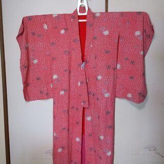 古物 着物 色;モスピンク 菊の模様あり 普段用、リフォーム素材...