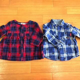 男女双子 90サイズ シャツ&チュニック ミキハウスブラン…